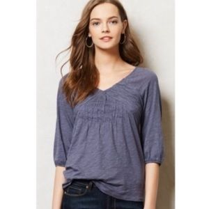 Anthropologie {Deletta} Ruched Smocked Swing Tee L
